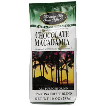 Hawaiian Isles Kona Coffee Ground Chocolate Macadamia 10 Oz. Bag Decaf