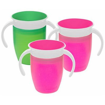 Munchkin Miracle 360 Degree 7 Ounce Spoutless Trainer Cup, 3 Pack, Green/Pink/Pink