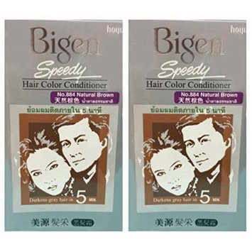 2 BOXES of BIGEN SPEEDY Natural Brown No.884 Hair Color Conditioner. Darkens grey hair in 5 min