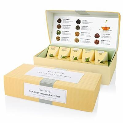 Tea Forté® Petite Presentation Box Sampler with 10 Handcrafted Pyramid Tea Infusers - Black Tea, White Tea, Green Tea, Herbal Tea