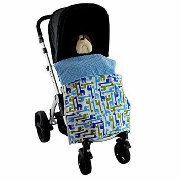 Stroller Blanket Giraffes Blue - No-Fall Universal Stroller Blanket, Sac-like Design Keeps Warm Air In, Handmade in USA.
