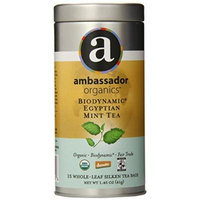 Ambassador Organics Biodynamic Egyptian Mint Tea, 15 Count, 1.45 Ounce Tins (Pack of 2)