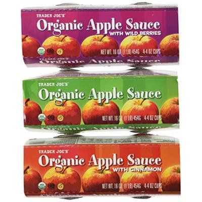 Trader Joe's Organic Apple Sauce To Go Variety Pack(3):Organic Apple Sauce 4ea.4oz.cups,Organic Apple Sauce with Berries 4ea.4oz.cups,Organic Apple Sauce with Cinnamon,total 12each 4oz. cups
