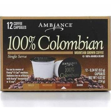 12 K-Cup Keurig Ambiance Coffee 100% Colombian Medium Dark Roast, 4.02oz (One Box)