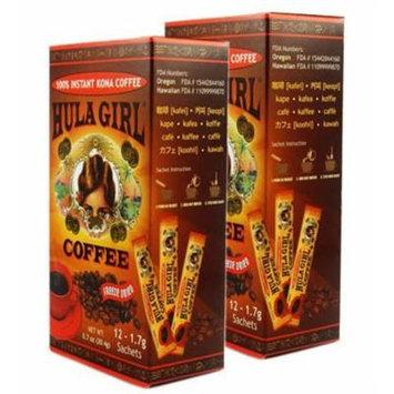 2 - Boxes of Hula Girl 12 Single Serve Sachets 100% Hawaiian Freeze Dried Instant Kona Coffee 1.7 grams each sachet