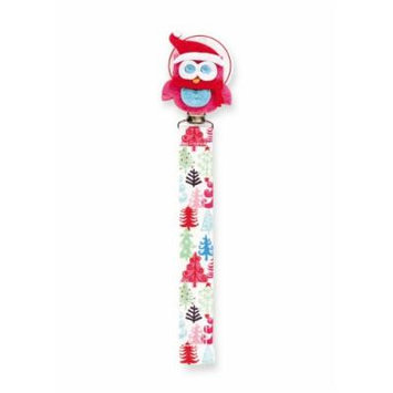 Mud Pie Christmas Owl Pacifier Clip Holder