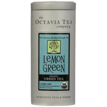 Octavia Tea Lemon Green (Organic Green Tea) Loose Tea, 2.01-Ounce Tins (Pack of 2)
