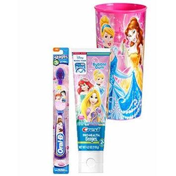 Disney Princess Soft Manual Toothbrush & Crest Disney Princess Bubble Gum Toothpaste 4.2 Oz Plus Bonus Princess Mouth Was Rinse Cup!