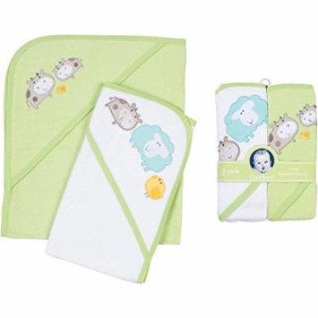 Gerber 2 Pack Unisex Hooded Towels Green Safari Design