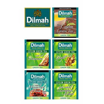 Dilmah, Green Tea, 100% Single Origin Pure Ceylon, Collection: 5 Different Varieties of Green Tea, 60 Individually Foil Envelopes, (Pack of 60)