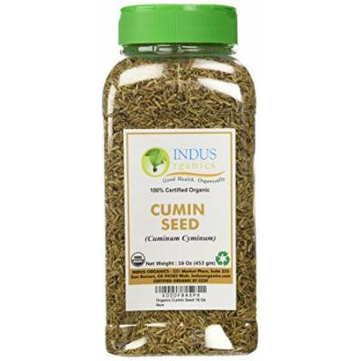 Indus Organic Cumin Seeds Whole (Jeera) 1 Lb Jar, Freshly Packed
