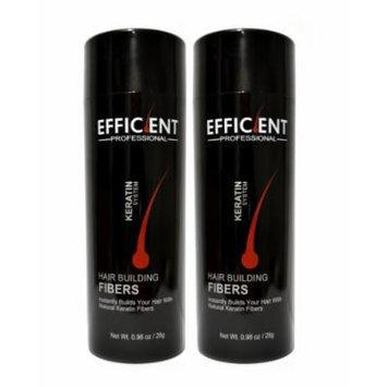 2 of EFFICIENT Keratin Hair Building Fibers, Hair Loss Concealer Net Wt. 28gm / 0.98 oz (Light Brown)