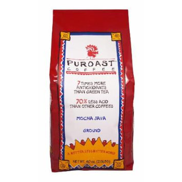 Puroast Low Acid Coffee Mocha Java Flavored Coffee Drip Grind, 2.5 Pound Bag