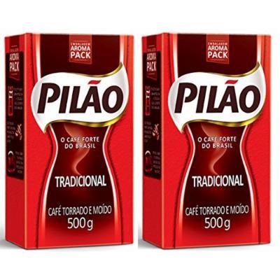 Coffee Rost and Ground - Café Torrado e Moído - Pilao 17.60oz. (500g) - GLUTEN-FREE - (PACK OF 02)