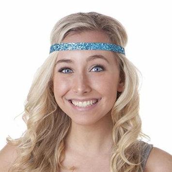 Hipsy Women's Adjustable NO SLIP Skinny Bling Glitter Headband (Teal Blue)