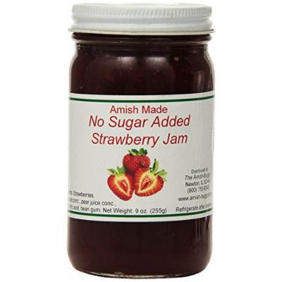 Amish Buggy No Sugar Added Jam, Strawberry, 16 Ounce (Pack of 12)