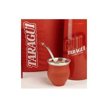 Leather Glass Mate Gourd Set Taragui: Mate Gourd Cup +Bombilla Straw