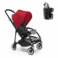 Bugaboo Bee 3 Black Frame Stroller With Grey Melange Seat w Bugaboo Cup Holder (Red)
