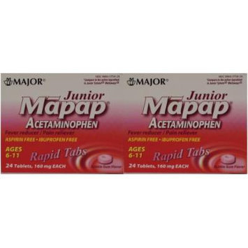 Mapap Junior 160mg Rapid Chewable Bubblegum Tabs, 24 CT (2 PACK) - Compare to Junior Tylenol Meltaways