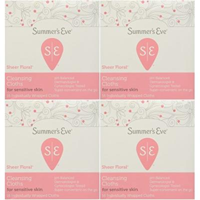 Summer's Eve Cleansing Cloth Sheer Floral, 16 Count (Pack of 4)