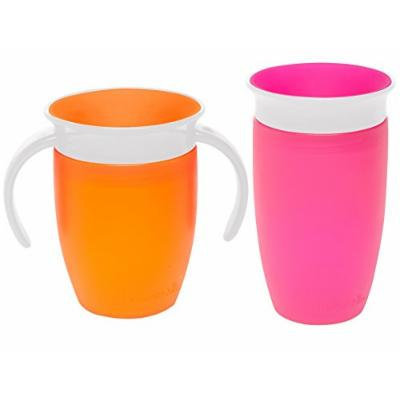 Munchkin Miracle 360 Degree No-Spill Trainer and 10 Ounce Cup, Twin Pack, Orange & Pink