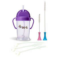 Zoli Baby BOT Straw Sippy Cup, Purple with Replacement Straws & Cleaning Set