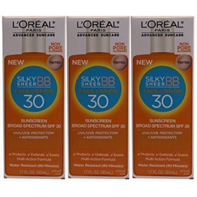 L'Oreal Paris Advanced Suncare Sunscreen SPF 30 Liquid Silk BB Sunshield for Face, 1.7 Fluid Ounce (Pack of 3)