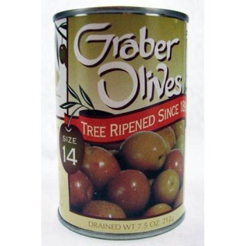 Graber, Tree Ripened Olives, 7.5oz Drained Weight (Pack of 6) (Choose Olive Size Below) (SIze 14)