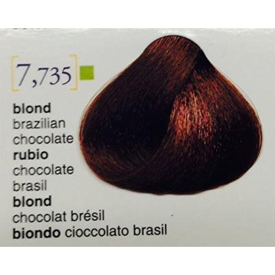 """Salerm Color Cream Coloring Treatment Without Ammonia (Semi-permanent) Soft 3.4 Oz """"Free Starry Sexy Lio 10 ml"""" (7.735 Blond Brazilian Chocolate)"""