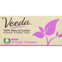 Veeda - Applicator Free Super Tampons - Natural Cotton - 16 Count Boxes (Pack of 3)