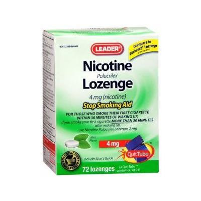 Leader Nicotine Lozenges 4 mg. Mint, 72 ct (Pack of 2)