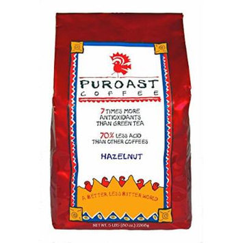 Puroast Low Acid Coffee Hazelnut Flavored Coffee Whole Bean, 5-Pound Bag