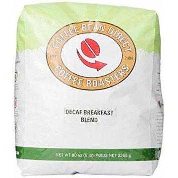 Coffee Bean Direct Decaf Breakfast Blend, Whole Bean Coffee, 5-Pound Bag