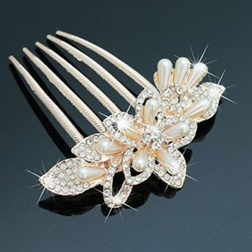 Nero Flora Wedding Hair Combs with Rhinestones for Bride, Bridal Hair Accessories for Women