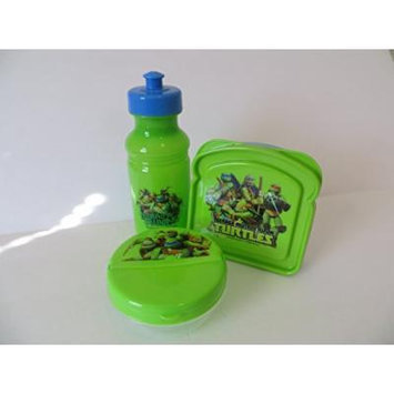 Teenage Mutant Ninja Turtle SNACK Set 3 Pieces - ZAK - BPA Free Pop Up Water Bottle, Sandwich Container, Round Snack Container
