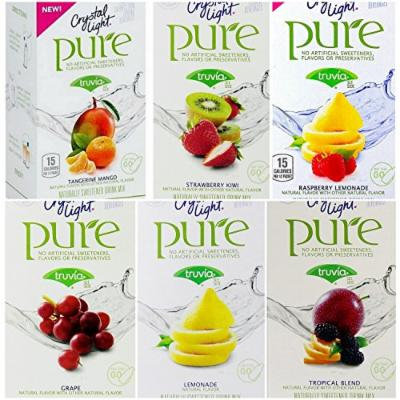 Crystal Light Pure On The Go Drink Mix Variety Pack, 6 Flavors, 16 Boxes Total