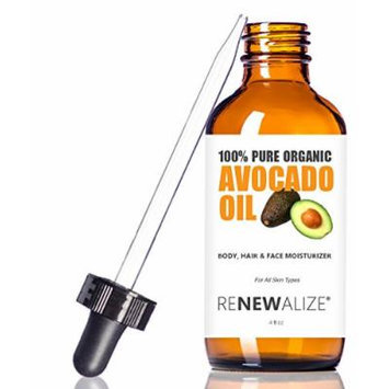 Organic AVOCADO OIL Skin Moisturizer - Cold Pressed and Unrefined in LARGE 4 OZ. DARK GLASS BOTTLE with Glass Eye Dropper , Highest Quality 100% Pure , Non GMO , Helps to Enhance Hair's Natural Silkiness and Shine , Softens and Moisturizes Severely Dry...
