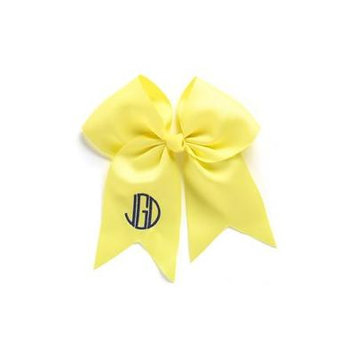 Personalized Hair Bow, Yellow, font:circle initials, color:navy
