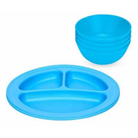 Green Eats 2 Pack Divided Plates & Snack Bowls, Blue