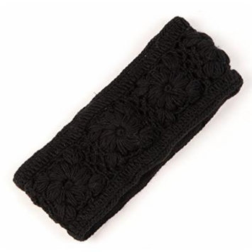 Nirvanna Designs Flower Crochet Headband, Black