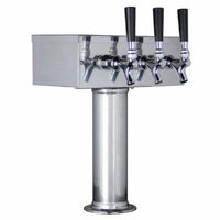 Kegco KC TTOW-3F-SS Polished Stainless Steel T-Style 3 Faucet Draft Beer Tower, 3