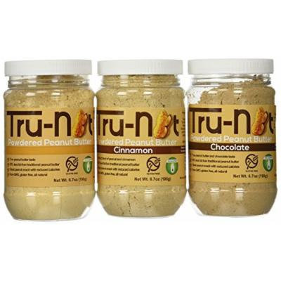 Tru-Nut Powdered Peanut Butter 6.7oz Jar 3-Pack: Original, Chocolate and Cinnamon