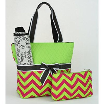 Quilted Chevron Print (Fuchsia/Lime) 3-Piece Cotton Diaper Bag Set with Changing Pad and Small Zipper Tote (Monogram Ready)
