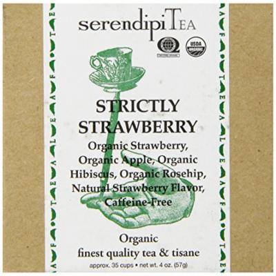 SerendipiTea Strictly Strawberry, Organic Strawberry, Hibiscus, Apple & Rose Hips Tisane Tea, 4 Ounce Box