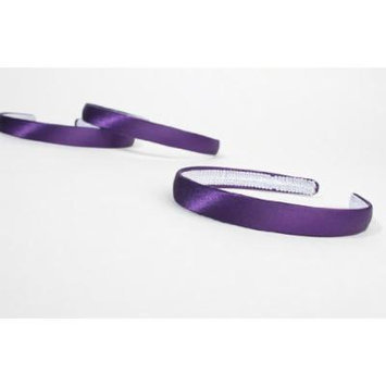 Set of 12 - Purple Smooth Satin Headbands for Hair Accessories- 5/8