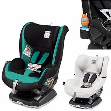 Peg Perego Primo Viaggio Infant Convertible Car Seat w Clima Cover, White & Cup Holder (Aquamarine)