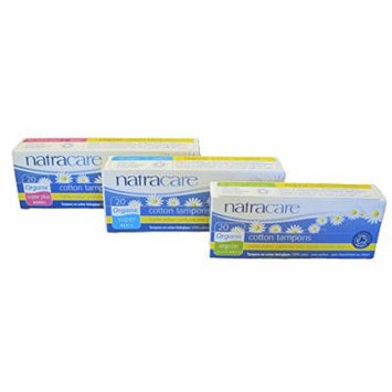 Natracare - Regular, Super and Super Plus Cotton Tampons - Applicator Free - Bundle of 3 Sizes