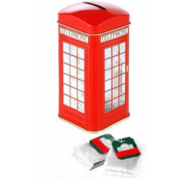 Tin Phone Box Money Box Tea Caddy with 20 Teabags