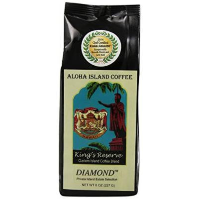 Aloha Island Coffee Kona Smooth DIAMOND Kings Reserve Hawaiian Blend Coffee, 8 Oz Ground