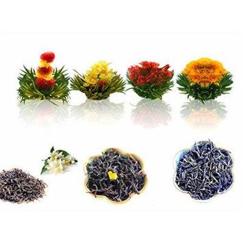 Tea Set of Fab Flowering Tea (4 Blooms), Whole Leaf Jasmine Green Tea (20g), 100% Natural Earl Grey (20g), and Premium Caramel Black Tea (20g)